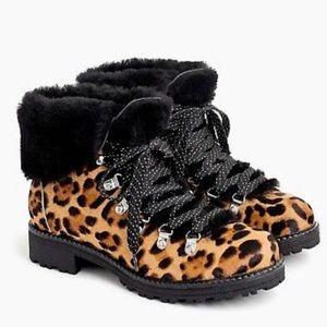 NWOB J Crew Nordic Boots in Leopard Calf Hair